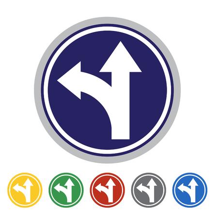 Go straight on or turn left icon set.Vector illustration