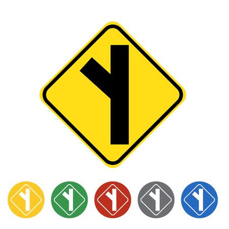 Road branching off left icon set.Vector illustration Illustration