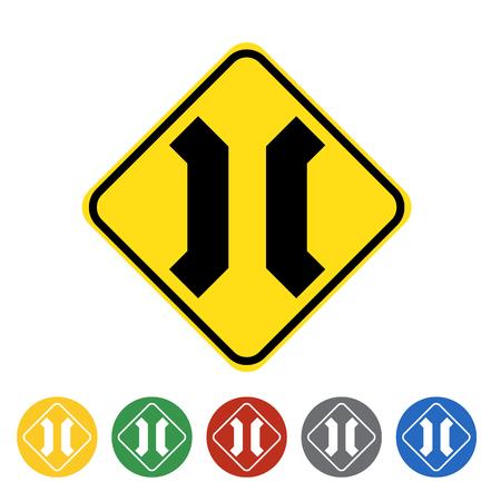 Approaching narrow bridge icon set.Vector illustration Illustration