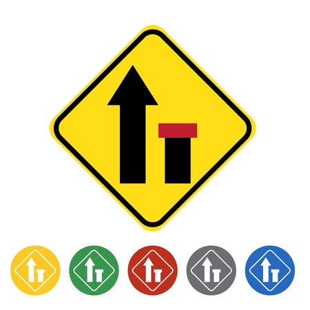 Ending right lane icon set.Vector illustration