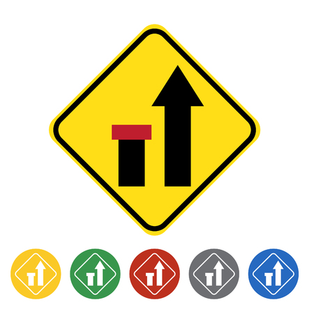 Ending left lane icon set.Vector illustration Illustration
