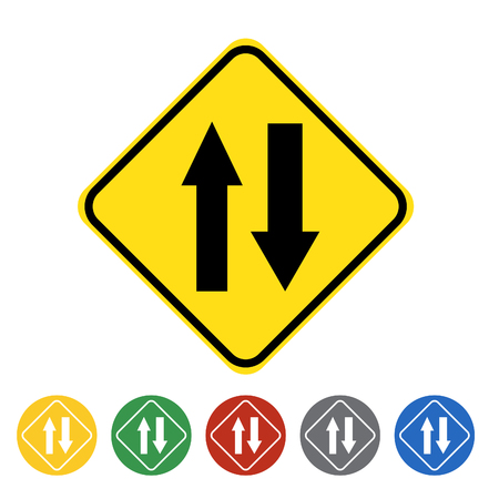 Two way traffic ahead icon set.Vector illustration