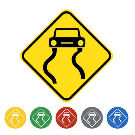 Slippery road icon set.Vector illustration Illustration