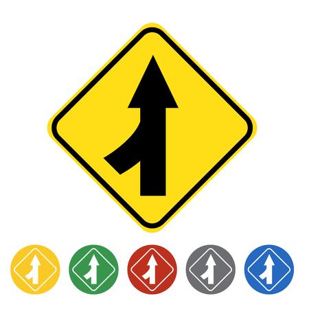 Merging lane left icon set.Vector illustration