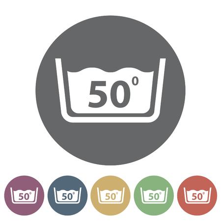 Temperatuur wassen pictogram Vector illustratie Stockfoto - 80942960