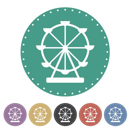 Amusement park, adventureland, ferris wheel icon set. Vector illustration