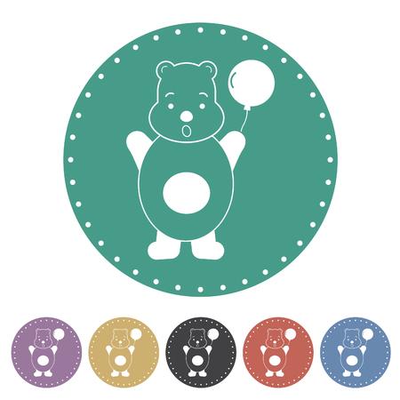 Teddy bear icon set. Vector illustration