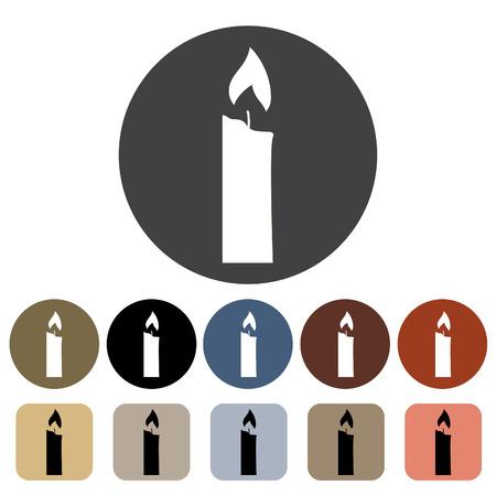 Candle icon set. 向量圖像