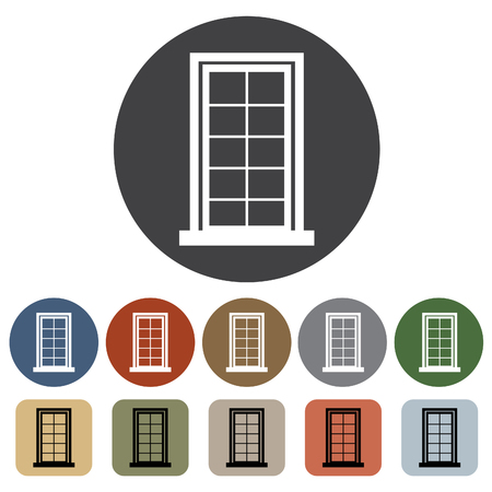 interior decoration: Door, window icon set. Vector illustration