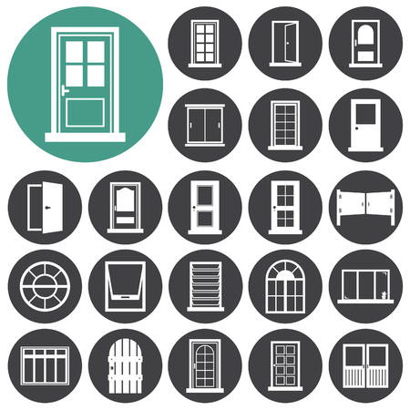 Door, window icon set. Illustration