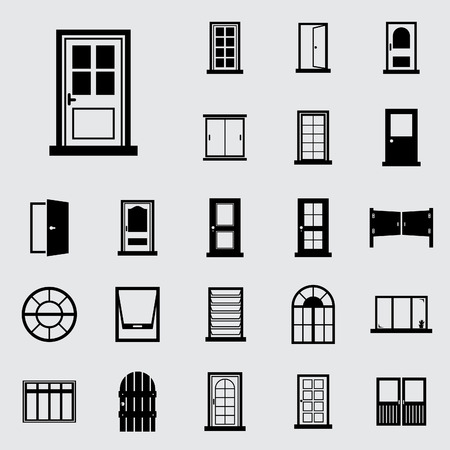 home office interior: Door, window icon set. Illustration