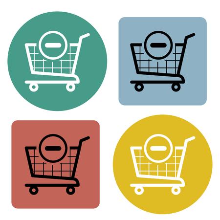 supermarket: Cart icon set. Vector illustration