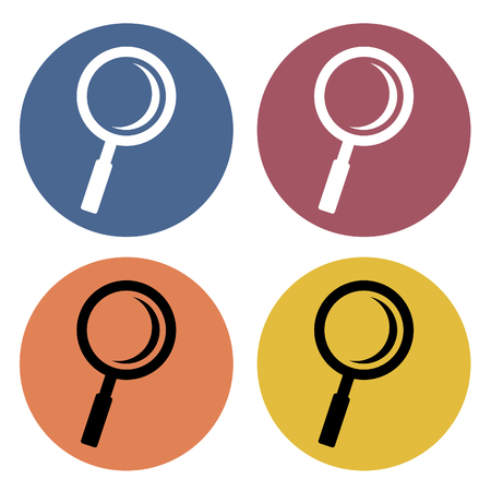 Magnifying icons on different color circles. Vector illustration.