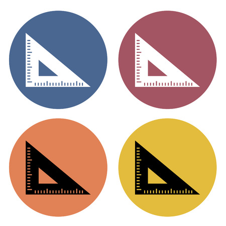 Ruler icons on different color circles. Vector illustration.