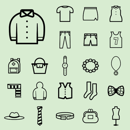 Clothing icons. Vector illustration. Vectores
