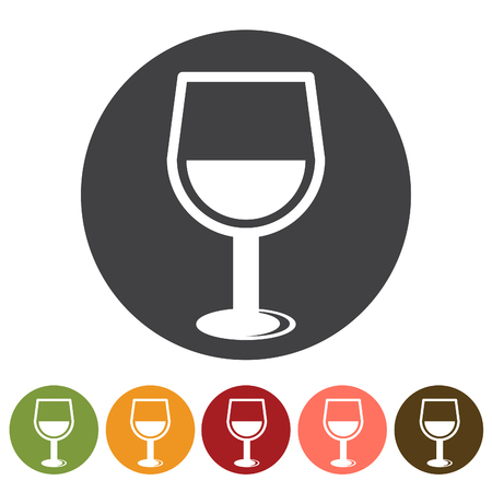 Wine, beverage icons vector illustration.