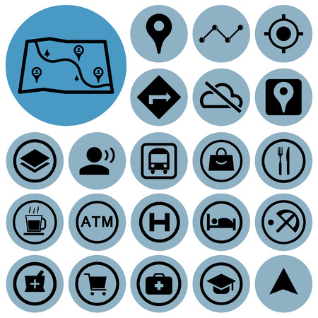 Map and location icons. Vector illustration.