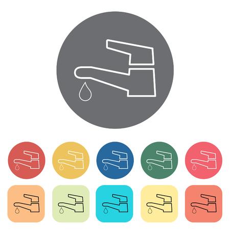 Faucet icons. Vector illustration. 矢量图像