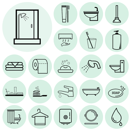 Bathroom icons set. Vector illustration.