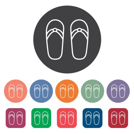 Sandal icons set. Vector illustration.