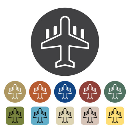 Transport and vehicle. airplane icons set. Outline icons collection. Vector illustration. Çizim