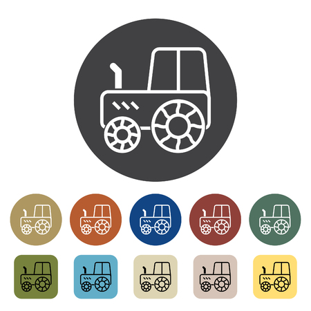 Transport and vehicle. tractor icons set. Outline icons collection. Vector illustration.
