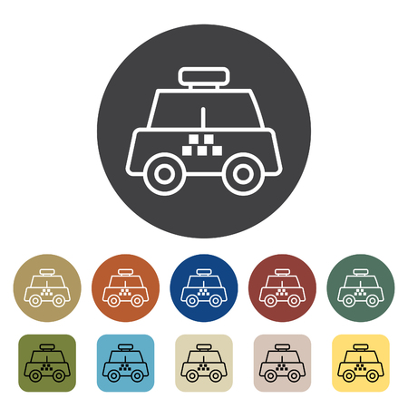 Transport and vehicle. taxi icons set. Outline icons collection. Vector illustration.