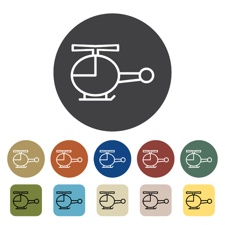 Transport and vehicle. helicopter icons set. Outline icons collection. Vector illustration. Çizim