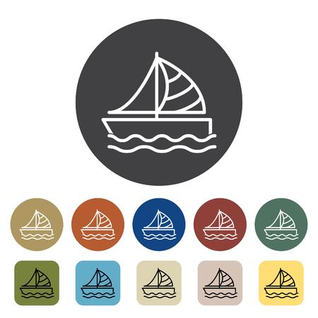 Transport und Fahrzeug. Segelboot Icons Set. Gliederung Icons Sammlung. Vektor-illustration Standard-Bild - 99149038