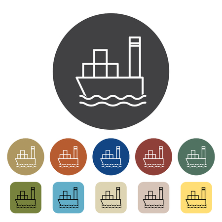Transport and vehicle. Cargo ship icons set. Outline icons collection. Vector illustration.