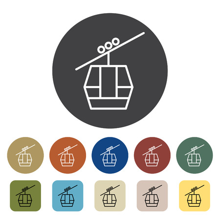 Transport and vehicle. Cable car icons set. Outline icons collection. Vector illustration.