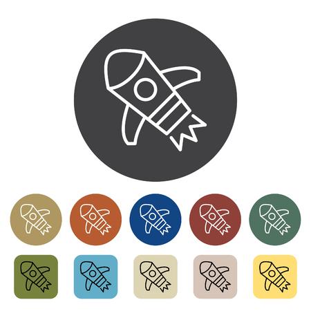 Transport und Fahrzeug. Raum Symbole festgelegt. Gliederung Icons Sammlung. Vektor-illustration Standard-Bild - 99149043