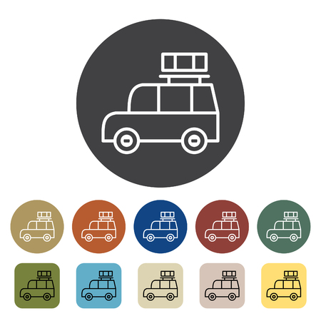 Transport and vehicle. SUV car icons set. Outline icons collection. Vector illustration. Çizim