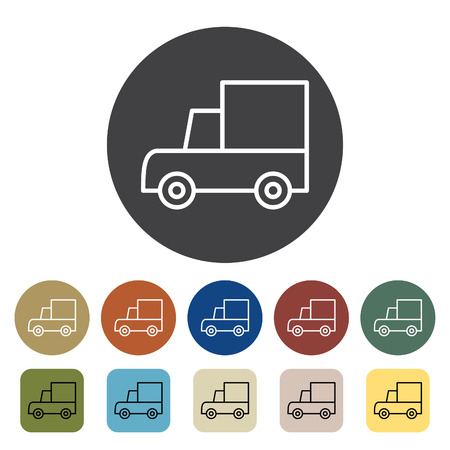 Transport and vehicle. truck icons set. Outline icons collection. Vector illustration.