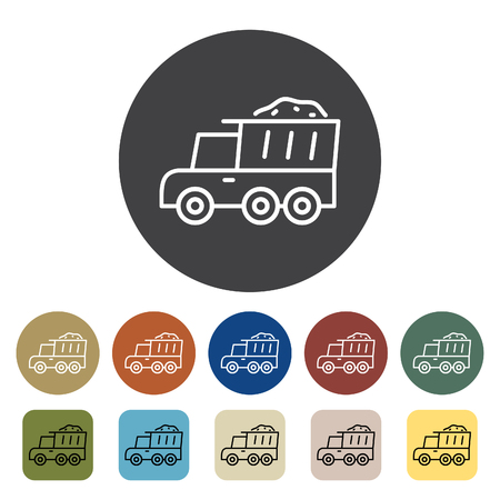 Transport and vehicle. Dump truck icons set. Outline icons collection. Vector illustration.