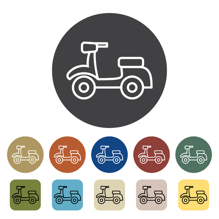 Transport and vehicle. scooter icons set. Outline icons collection. Vector illustration.