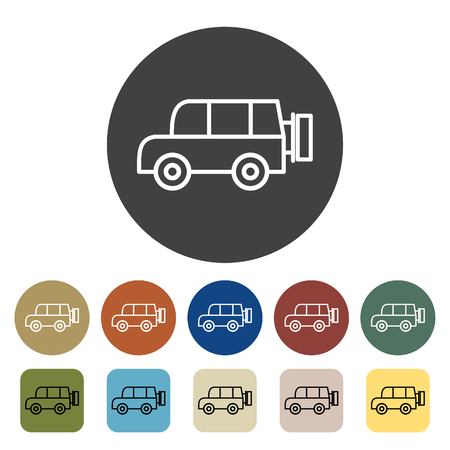Transport and vehicle. SUV car icons set. Outline icons collection. Vector illustration. Illustration