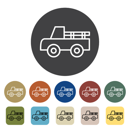 Transport and vehicle. pickup icons set. Outline icons collection. Vector illustration.