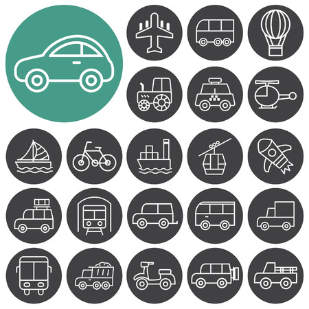 Transport, vehicle icons set. Outline icons collection. Vector illustration.