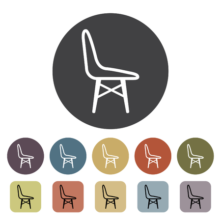 Chair, sofa and seating icons set. Outline icons collection. Vector illustration. Standard-Bild - 105098430