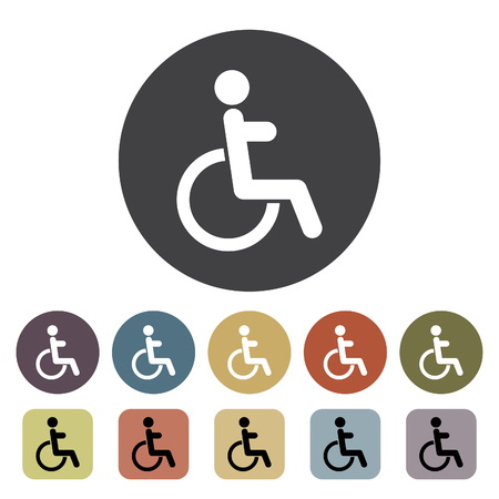 Disabled Handicap icons set. Outline icons collection. Vector illustration.