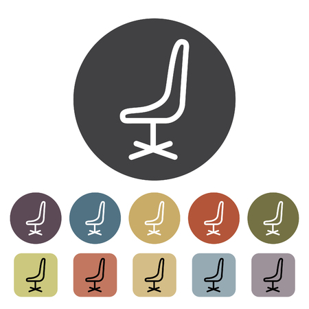 Chair, sofa and seating icons set. Outline icons collection. Vector illustration.