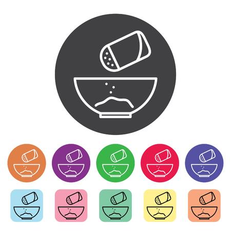 Salt shaker seasoning outline icons set. Vector illustration.