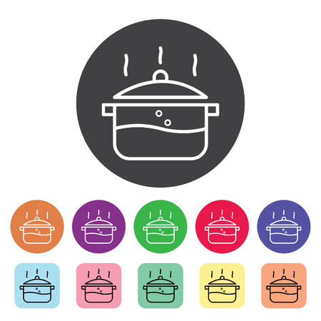 Cooking, food preparation outline icons set. Vector illustration.