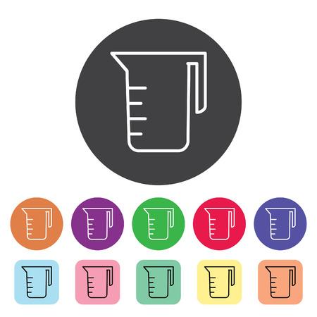Conjunto de iconos de contorno de vidrio de medición. Ilustración de vector.