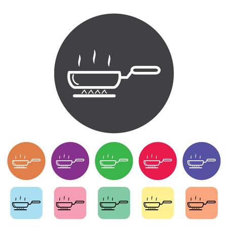 Frying pan outline icons set. Vector illustration. Standard-Bild - 105516828