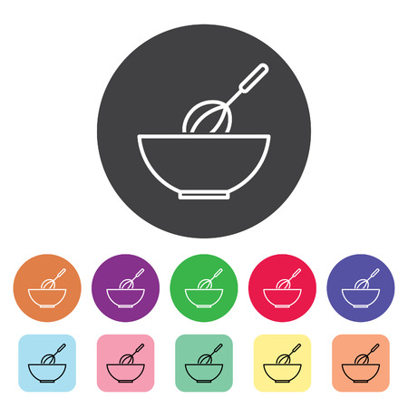 Whisk mixing dough outline icons set. Vector illustration.