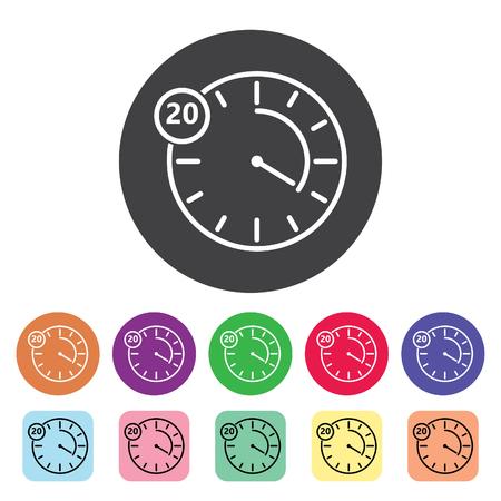 Timer outline icons set. Vector illustration. Çizim