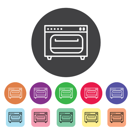 Oven outline icons set. Vector illustration. Standard-Bild - 105516835