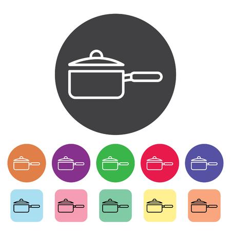 Pot outline icons set. Vector illustration.